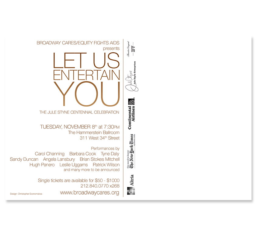 Let Us Entertain You Postcard - Back