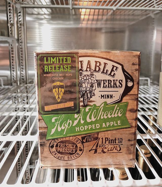 Limited release Hop A Wheelie with hops to match this weather. We've got MN wet hops from @mightyaxehops on deck for this exclusive batch. Get It before it's gone! (look for the shiny sticker😃)
