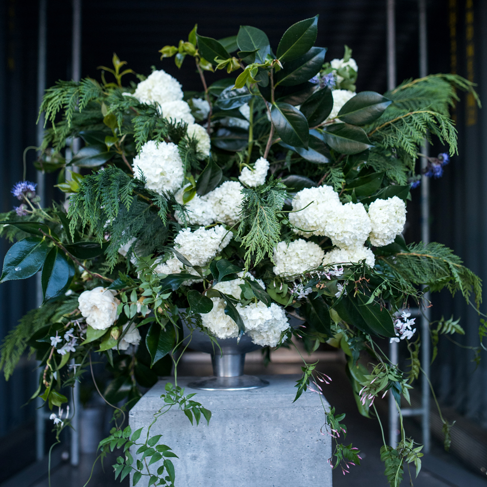 A gorgeous big floral display greeted guests outside our building |  photo: Florence Charvin