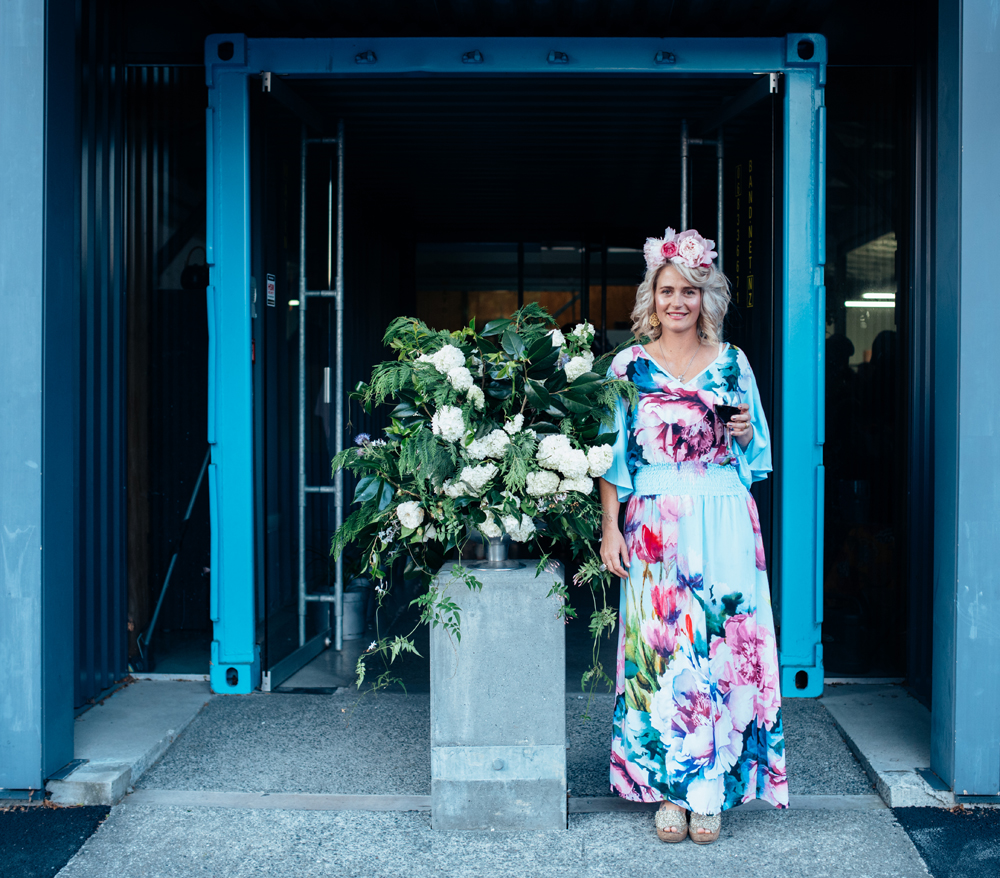 The lady herself,  Laura Jeffares , next to one of her arrangements |  photo: Florence Charvin
