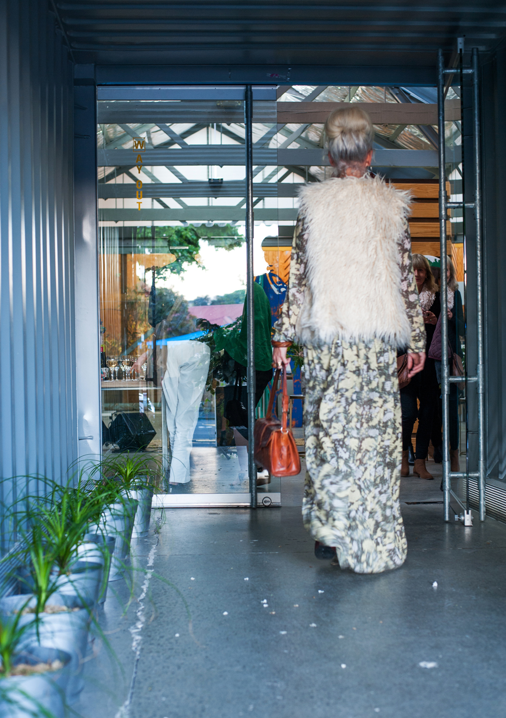 One of our favourite artists,  Rae West , arriving through our shipping container entrance |  photo: Florence Charvin
