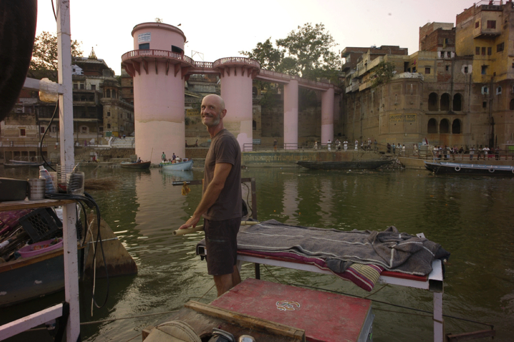 Andrew Ratcliff at the helm on the Ganges River.