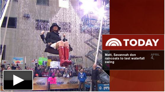 Matt Lauer & Savanna Guthrie ride the Waterfall Swing on the TODAY Show on Rockefeller Plaza!