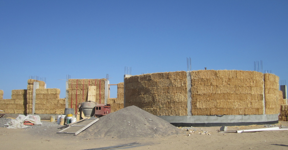 The bales in place after a couple of days' work.