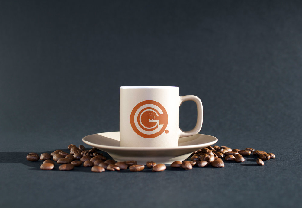 The Coffee Grounds Logo Colored Mockup