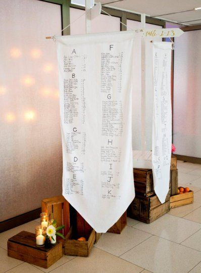 Why does your seating chart have to be predictable when you can have this. An installation of hanging scroll banners, mixed with your theming and even directional signage to help guests find their way!  Georgeous Occasions