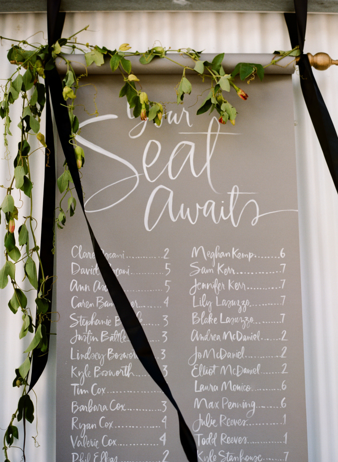 Perfect for the classic wedding couple looking to create something simple but oh-so-beautiful - this style mixes the traditional scroll style and simple foliage  with a modern script  and bold black ribbon.  Sylvie Gil Photography
