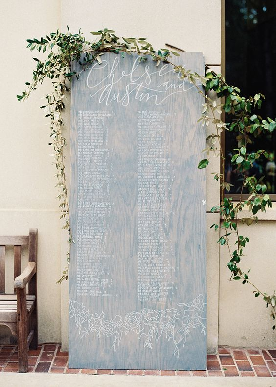 So this one isn't hanging, but it's got huge impact (and perfect for couples with a restrictive reception venue!). Hand-lettered names on a white-washed board mixed with some simple foliage definitely makes a statement.  Once Wed