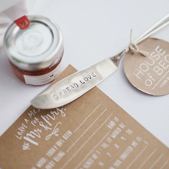 """We wanted our favours to be something our guests would keep and actually use to remember our wedding day. I came across this adorable shop on Etsy called 'House of Bec' where I got beautiful butter knives hand stamped with 'Spread Love' and our initials. The owner, Bec Stern, was an absolute gem and I would truly recommend her to anyone."" House of Bec"