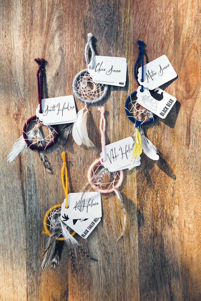 Mini dream Catcher escort cards for that free-spirited, bohemian couple. Pop Sugar