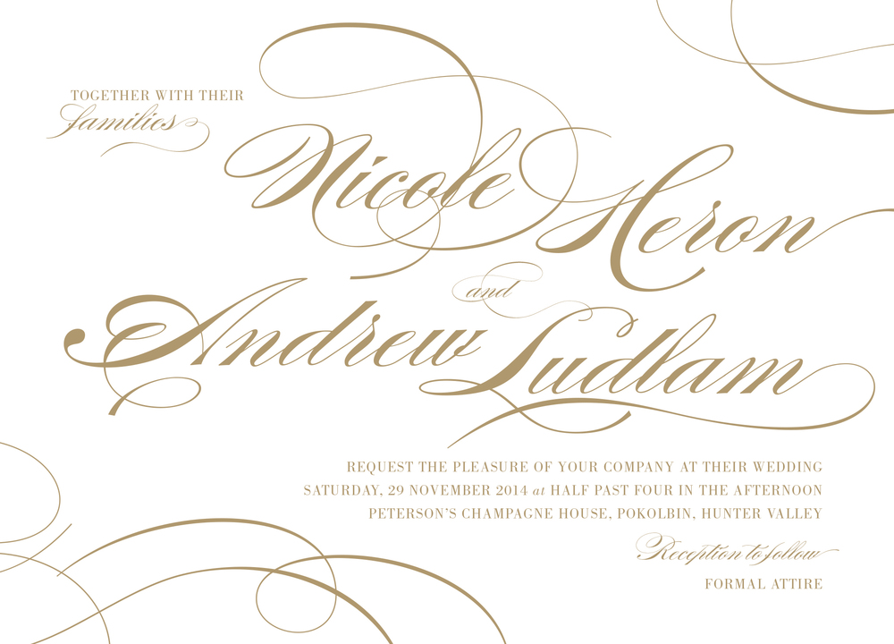 Example of a formal invitation hosted by the Bride & Groom