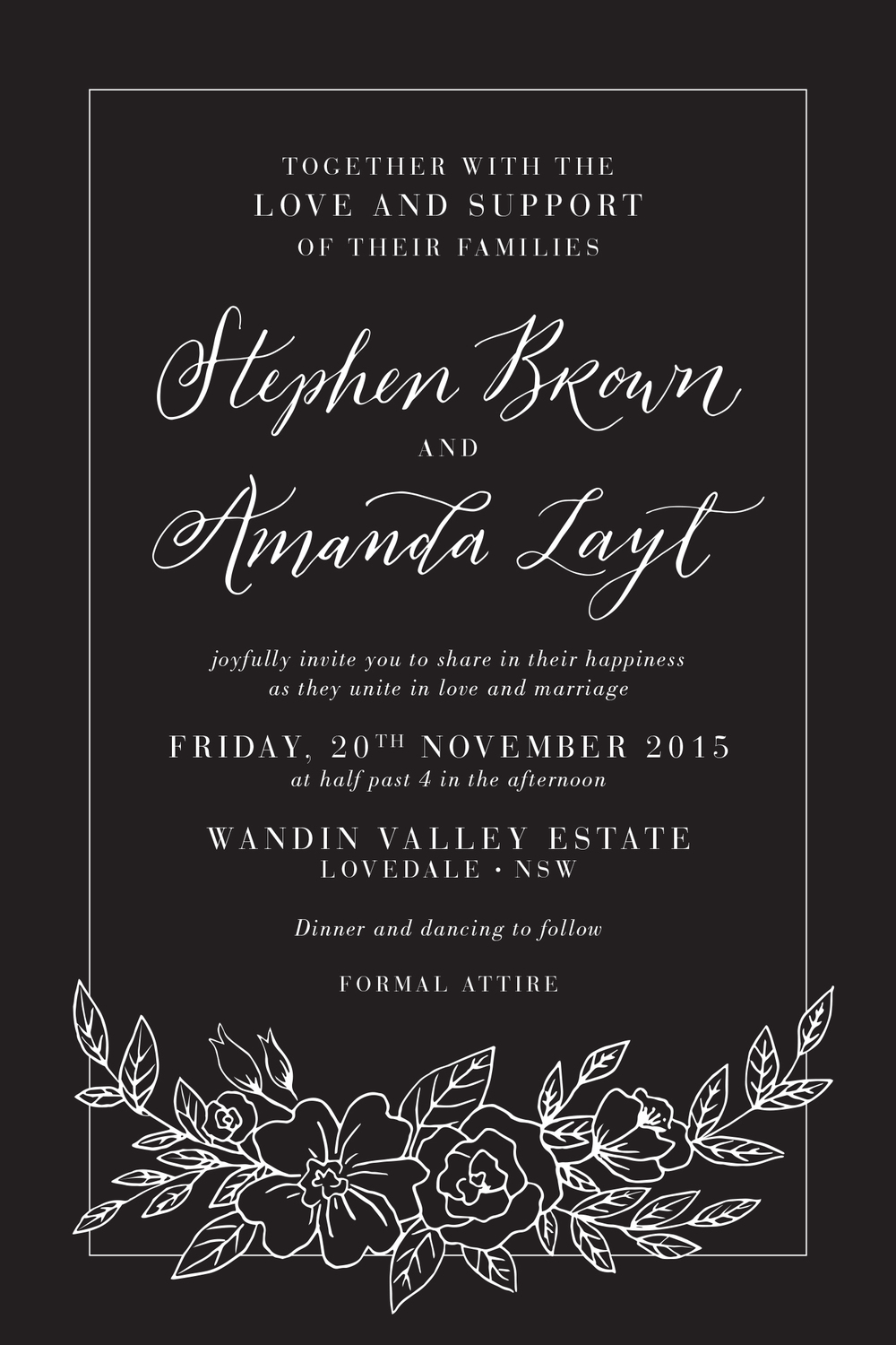 Example of a semi-formal invitation hosted by the Bride & Groom with their families