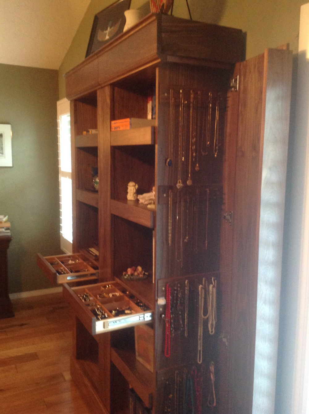 Custom Jewelry Bookcase in American Black Walnut