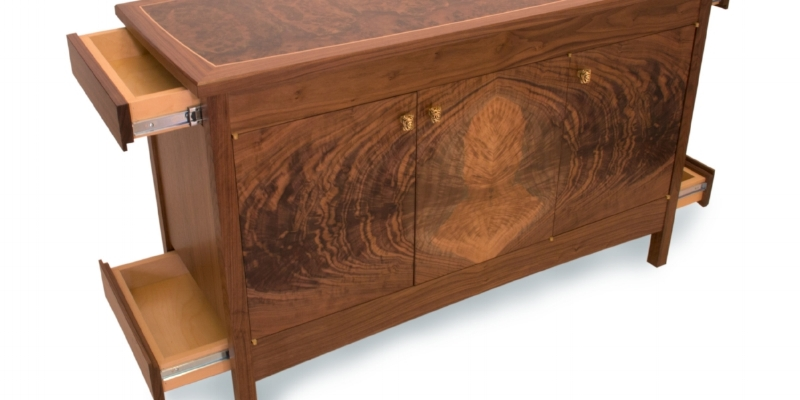 Superior Custom Walnut Buffet With Hidden Compartments
