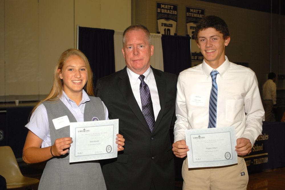 2014 Alumni Scholarship Recipients (l to r): Talia Kruezer '18, Gregory Gilbert '18