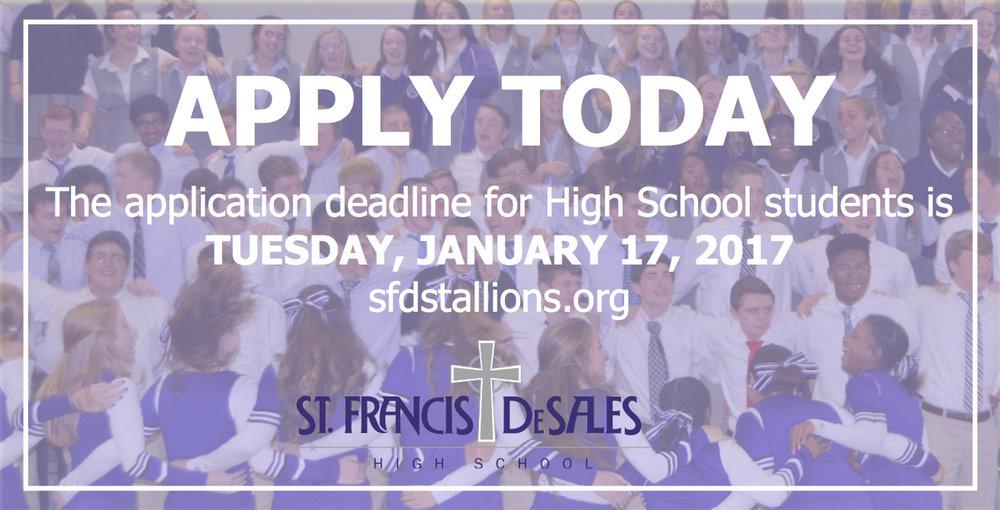 Class of 2021 Application Deadline, January 17, 2017 — St