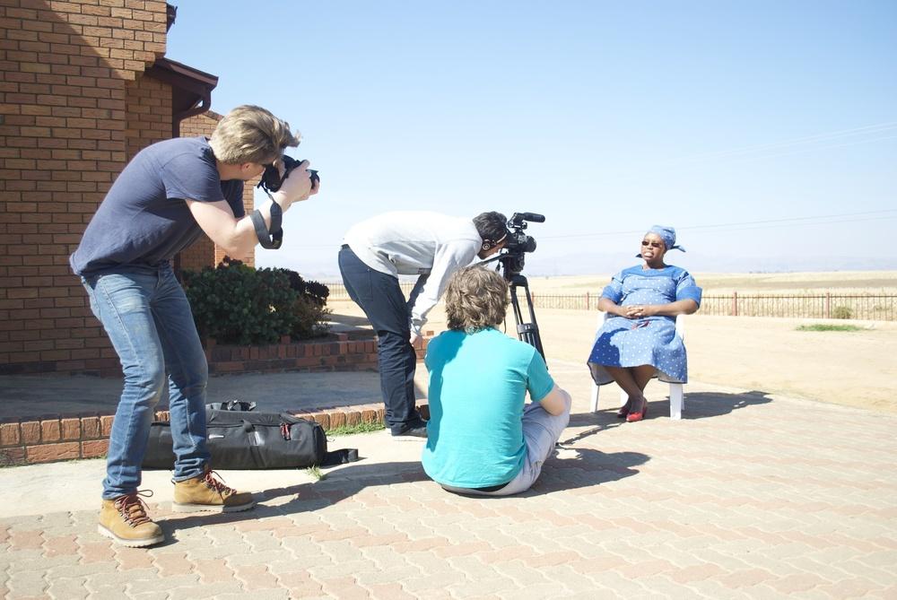 Kristian, Sven Arild and Kristoffer filming Matsepo.