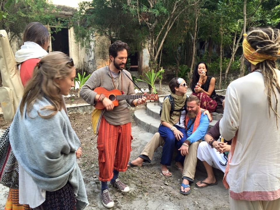 "Impromptu kirtan jam ""Sri Ram Jai Ram"" at the Beatles Ashram in Rishikesh, India"