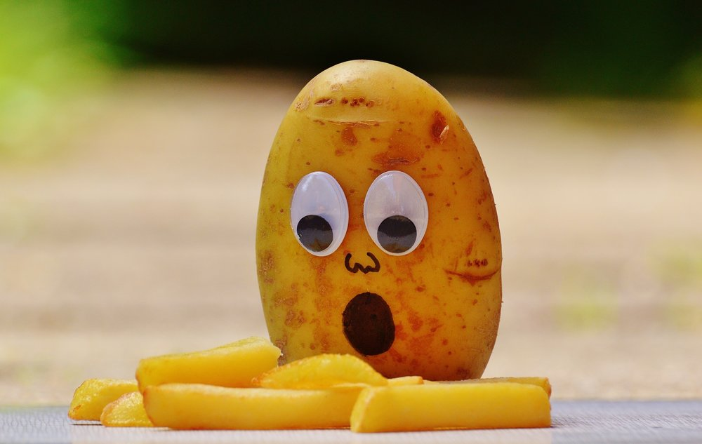 Funny potato with French fries