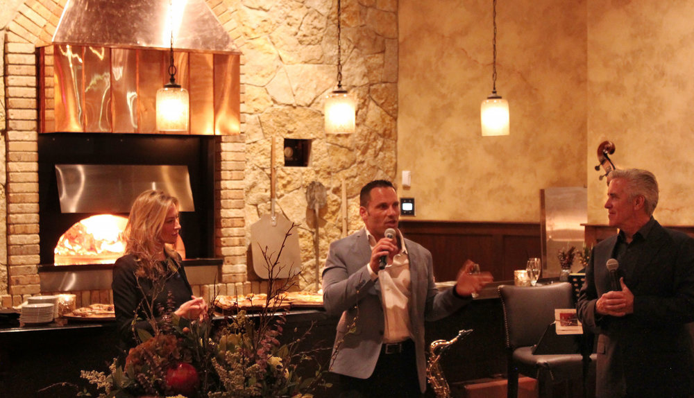 Faro addressing guests at the Grand Opening of Tuscan Kitchen Portsmouth on Feb. 26
