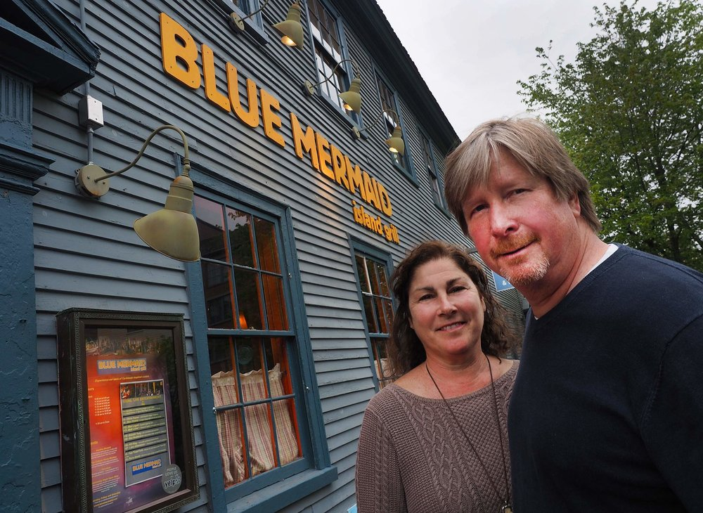 Owners Karen and Scott Logan in front of the former Blue Mermaid location. Courtesy: Seacoastonline