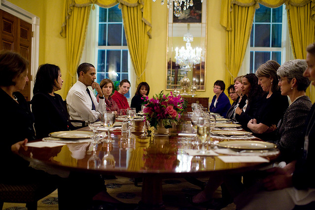 "Obama to White House ladies after looking at his watch: ""Are there genuine concerns that I need to know about?"" White House Flickr"