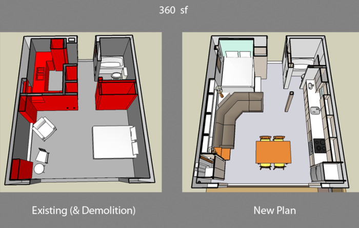 Existing and new plan (demolition in red)