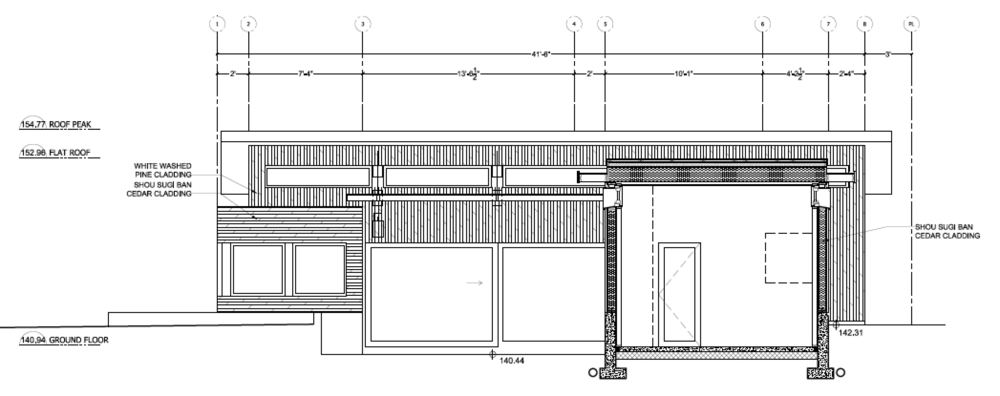 Section drawing as part of the building permit package, Two Birds laneway house