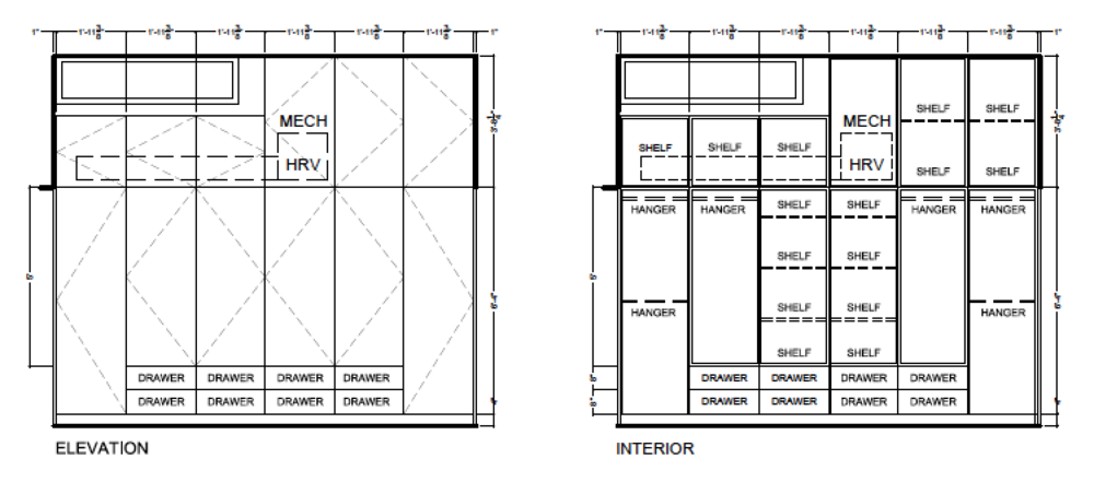 Master bedroom cabinetry drawings, Two Birds laneway house