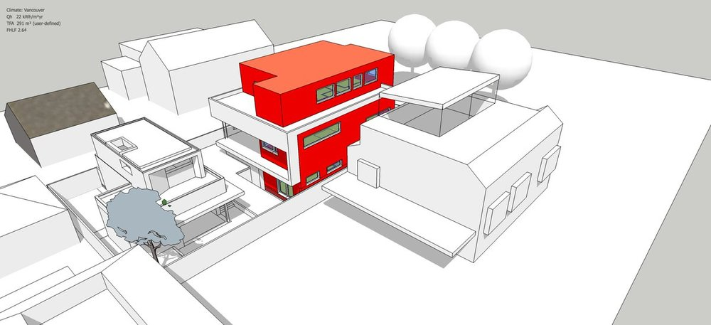 DesignPH model of the Trafalgar Passive House.  The red areas indicate the 'thermal envelope' (i.e. the insulated parts of the buildings) while the objects in white are non-thermal.