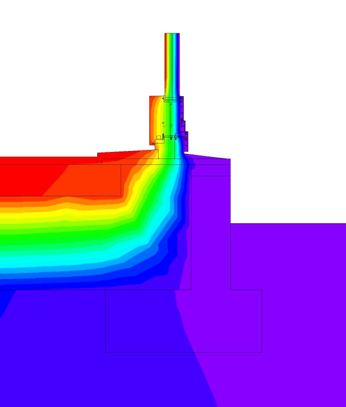 A Flixo thermal bridge model showing the threshold of an entry door. The red areas are the warm interior surface while the purple is the cold exterior.  The insulation and installation methods in this detail keep the floor warm and comfortable at all times.