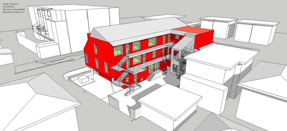 DesignPH model for a 12 unit multifamily passive house project in Vancouver.