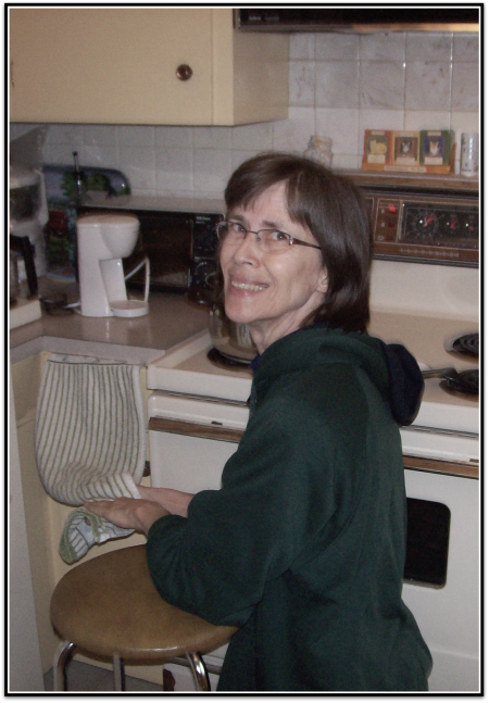She usually needed a stool to support her in the kitchen, and it wasn't uncommon to see her on her knees when she made food.