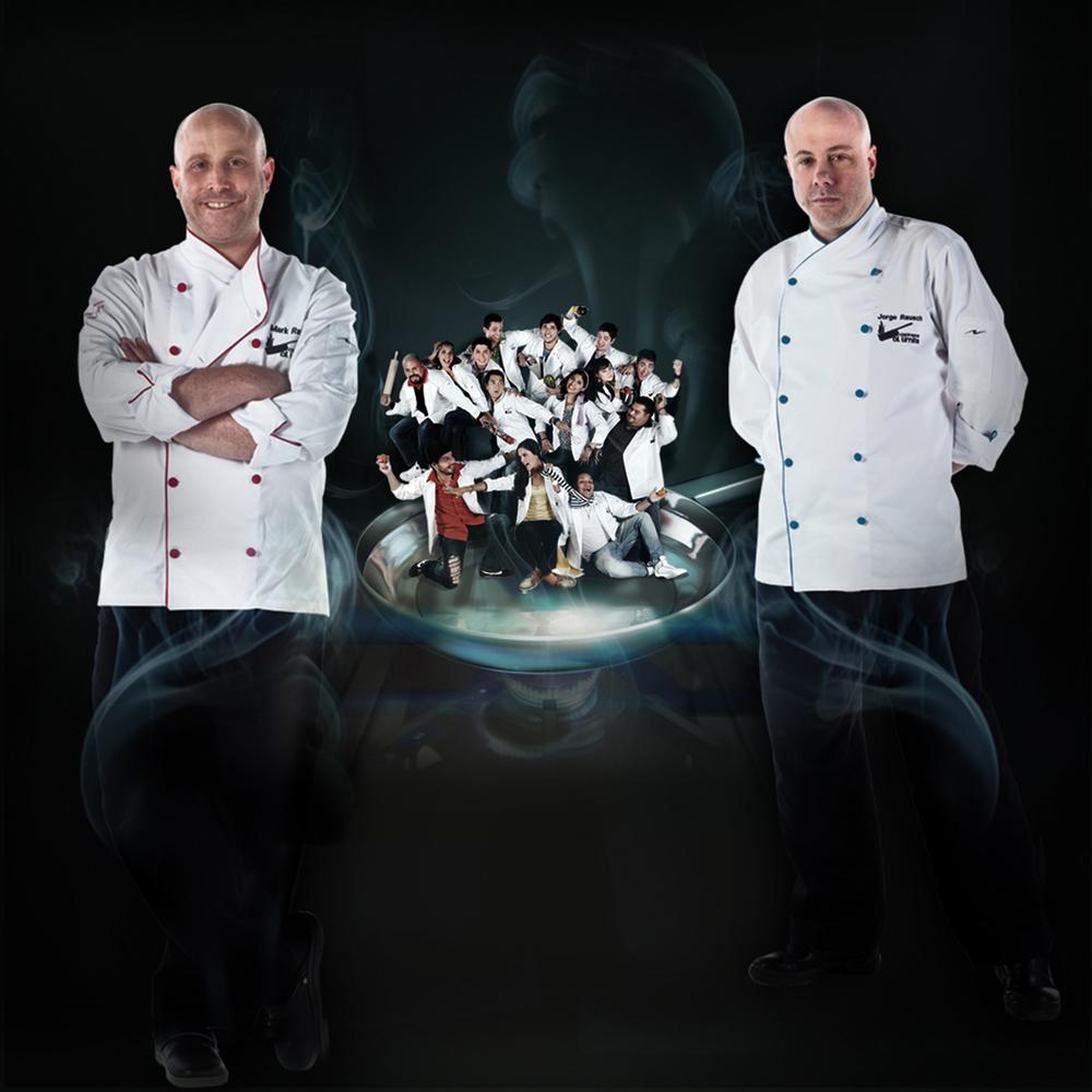 Mark, el chef pastelero y Jorge el chef de sal, dos de los hermanos Rausch que siguen poniendo en alto la cocina colombiana en el mundo y brillando con sus cabezas peladas.