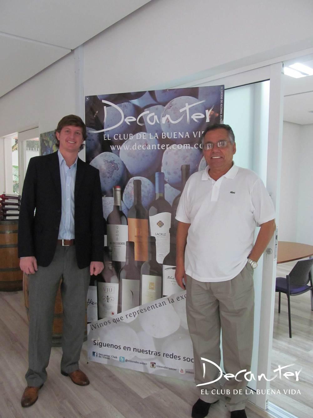 Diego Pulenta, export Manager de Pulenta Estate y Juan Carlos Novoa, gerente Club de vinos Decanter.