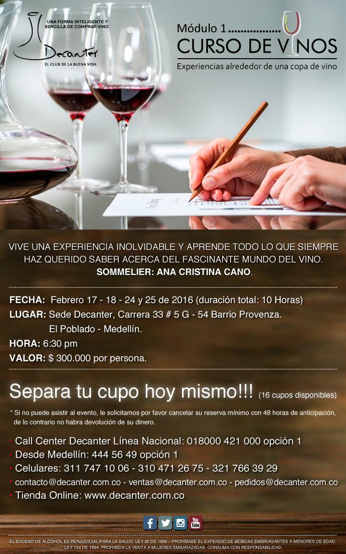 curso de vino Medellín Decanter