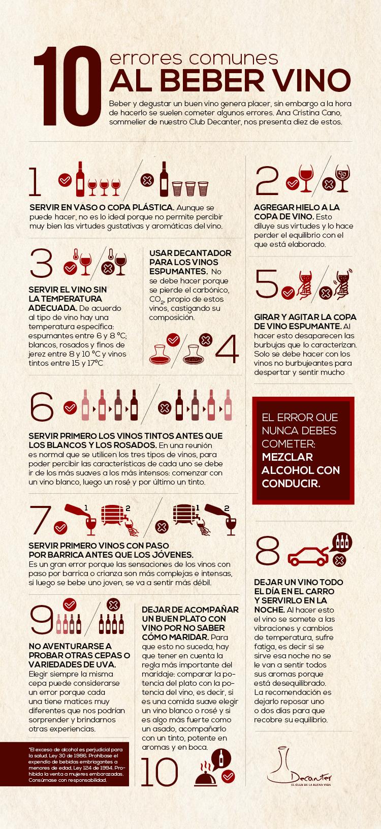 10 errores comunes a la hora de tomar vino