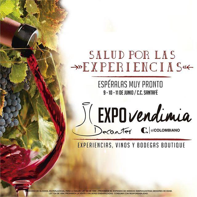 Disfruta de las mejores experiencias alrededor de una |copa de vino| Te esperamos este 9-10-11 de junio en @santafemedellin