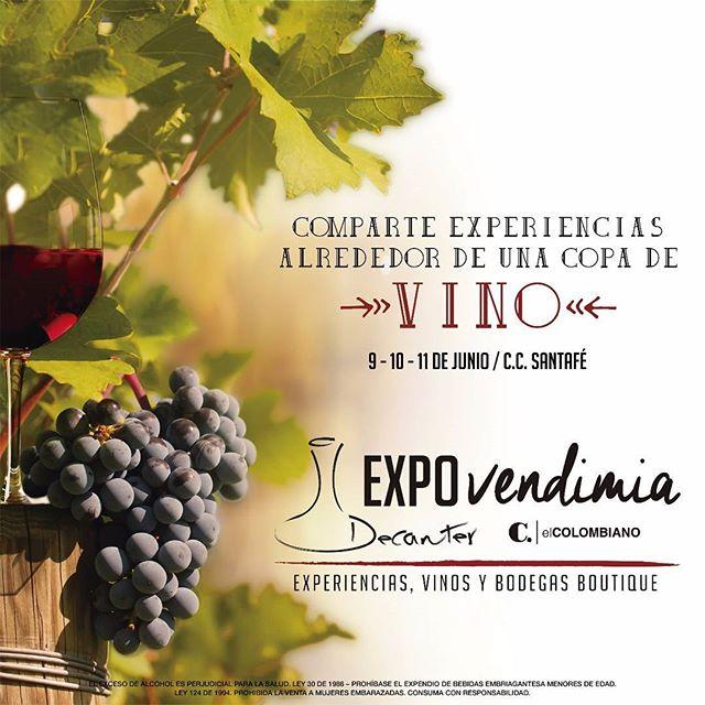 Este 9-10-11 de Junio en @santafemedellin podrás compartir experiencias inolvidables alrededor de una copa de vino. Te esperamos!!!