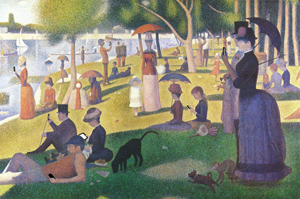"Brilliant re-illustration by artist Kim Dong-Kyu, adding electronic devices into ""A Sunday Afternoon on the Island of La Grande Jatte"" by Georges Seurat"
