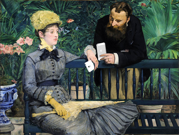 "Kim Dong-Kyu's re-illustrating ""In the Conservatory"" by Edouard Manet"