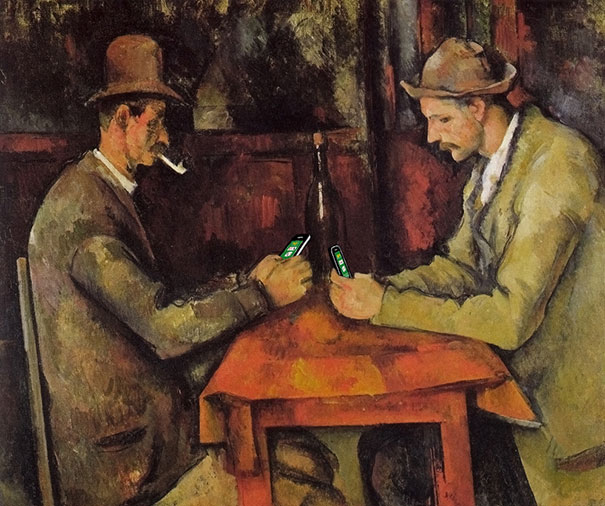 "Kim Dong-Kyu's re-illustrating ""The Card Players"" by Paul Cézanne"