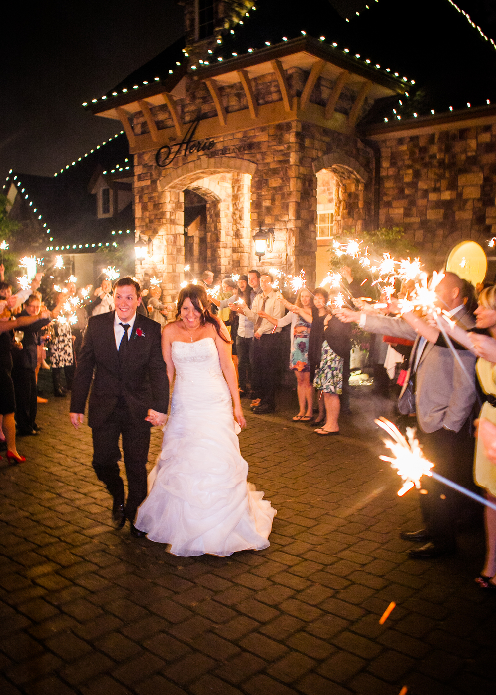 Stunning Sparkler Sendoff! One ofthe many features of TheAerie's Paris Package.