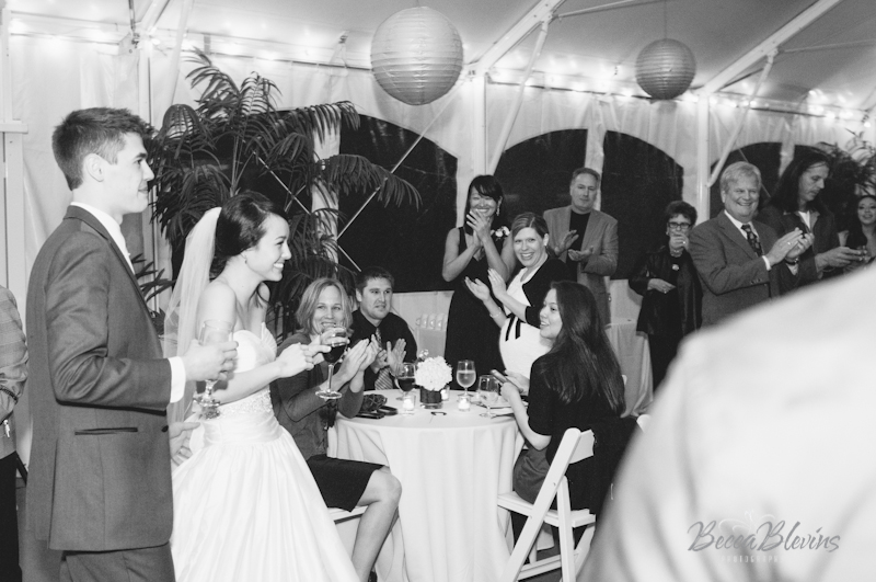 Wedding Toasts in the Tent at The Aerie at Eagle Landing - Wedding Venues Happy Valley, Oregon