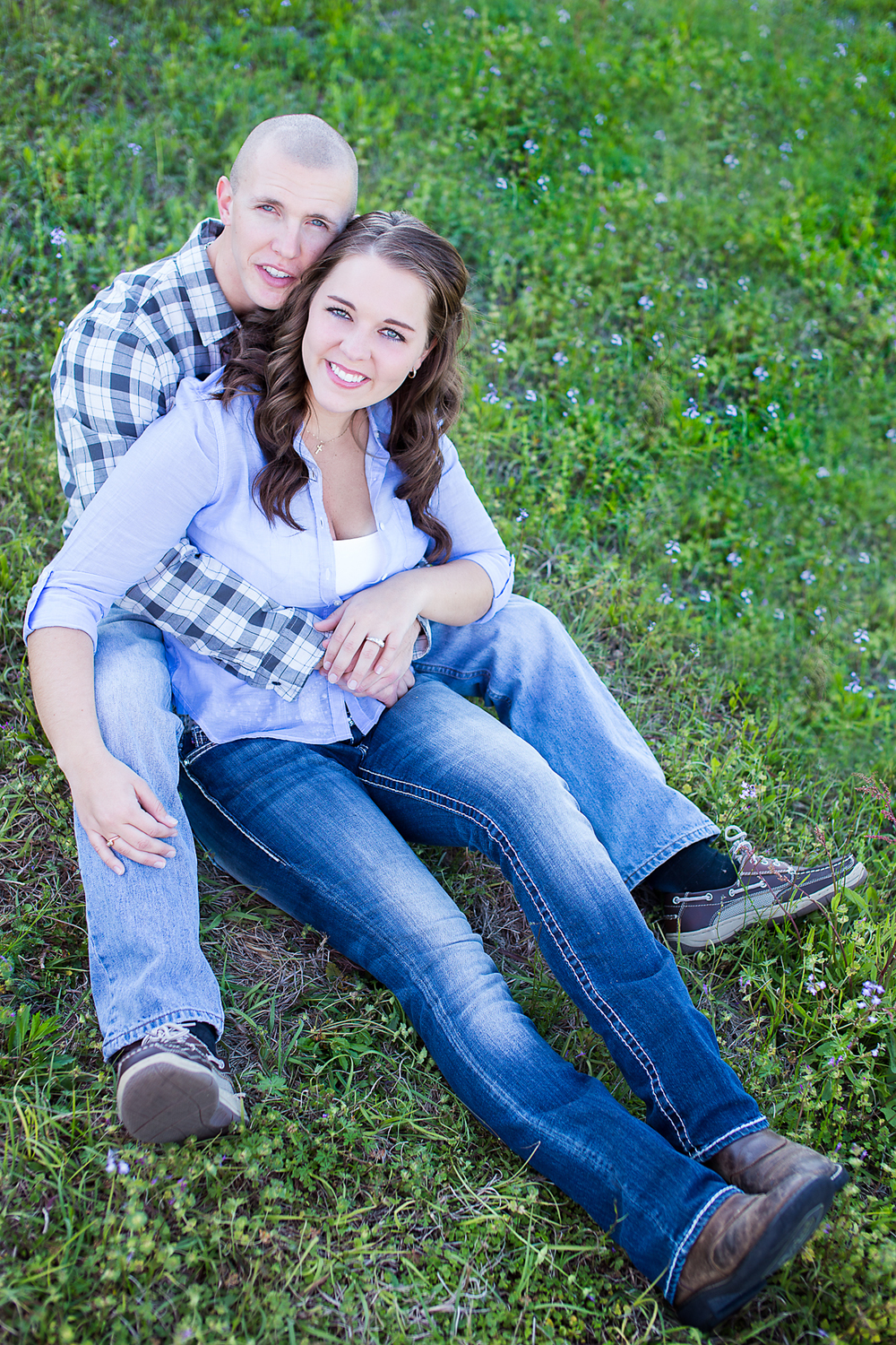engagement photo in flower patch