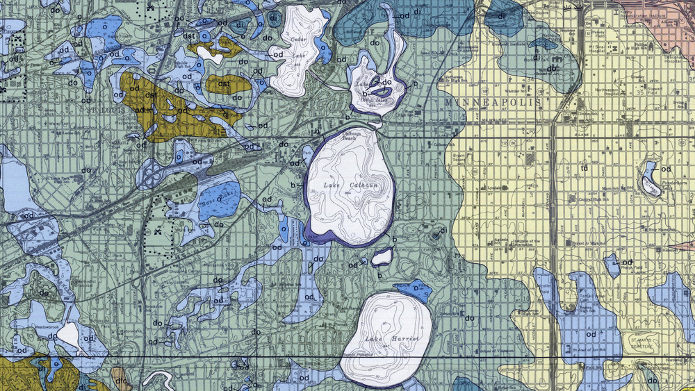 Geological map of Minneapolis showing glacial deposits over time; closeup of the Chain of Lakes. (Courtesy UMN / Minnesota Geological Survey)