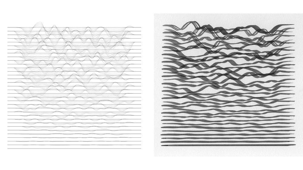 Waves , Seed 28, Toolpaths (left) and Increment 100 (right)