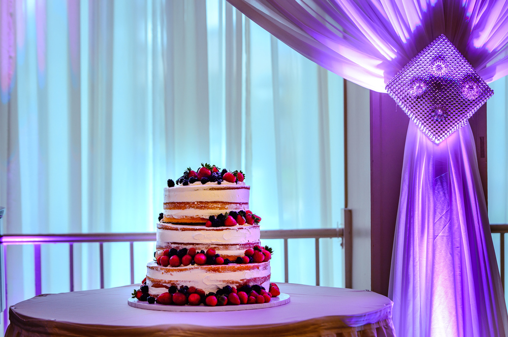 Wedding cake with fruit toppings