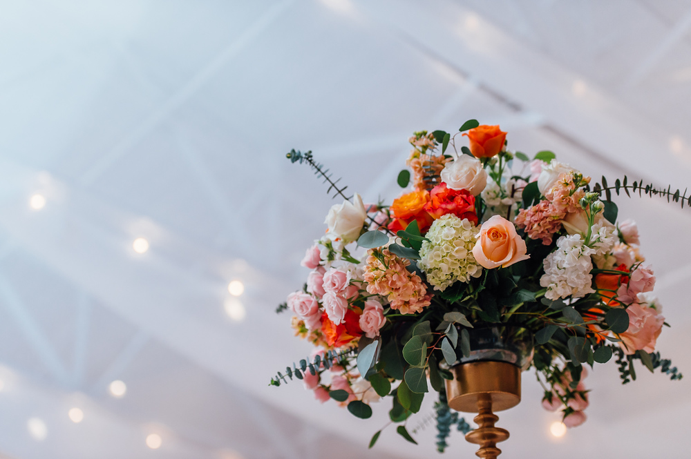 Orange wedding floral centerpieces