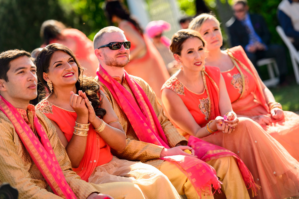 Indian Bridesmaids wearing Orange Lehnga